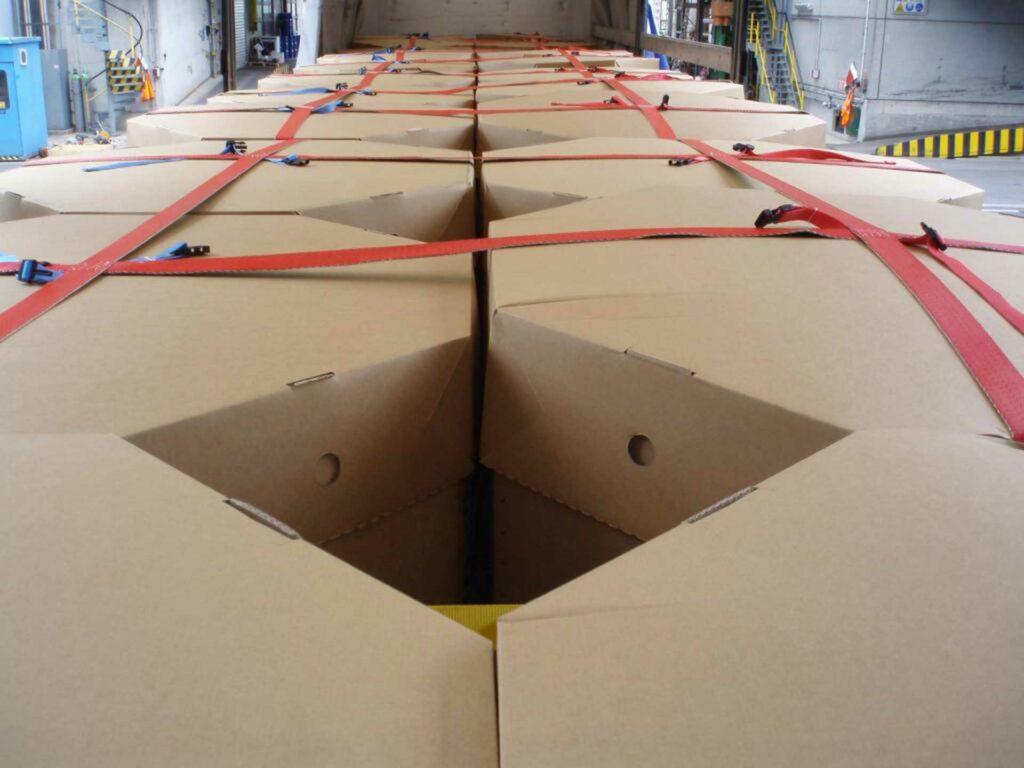 Nahaufnahme von verpacktem Transportgut